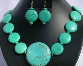 Turquoise Coin Set - Mayan Aztec Native American - Necklace & Earrings