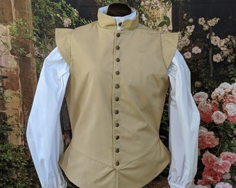 1 in stock! Medium Khaki Basic Fencing Jerkin Doublet - Gipsy Peddler SCA Rapier Armor