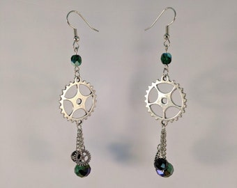 Steampunk Gear Crystal and Chain Dangle Earrings