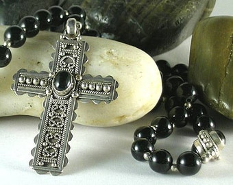 Sterling Silver and Black Onyx - Renaissance Rosary with Cross 16th c.