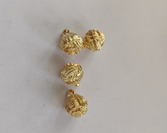 4 Gold Metal-tone Chinese Knot Buttons