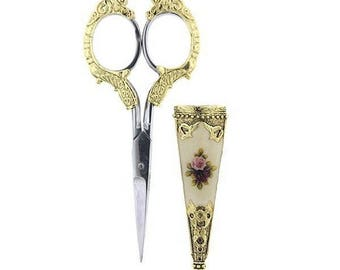 Victorian Embroidery Scissors with Rose Case - Sewing Tools Needlework