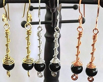 Twisted BoHo Sacred Spiral Earrings w Obsidian Beads & Spiral Earwires