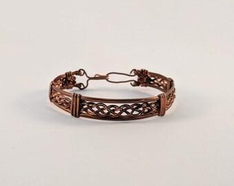 Wire Wrapped Copper Basket Weave Bracelet Cuff