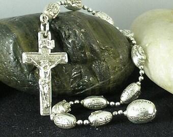 Vintage Holy Trinity Decade - Silver Rosary - Renaissance - Vatican