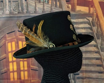 Steampunk Topper - 19th C. Topper Feather Hatband - Skull - Pheasant Feathers