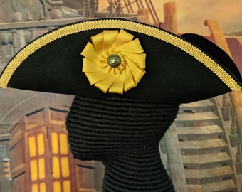 Captain's Tricorn - Cockade Hat - Colonial Tricorne - Pirate Hat
