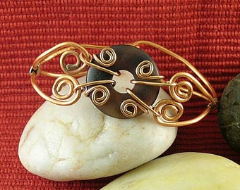 Agate Donut with Hinged Copper Bracelet - Sacred Spirals