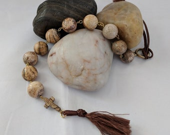 Picture Jasper Prayer Beads and Cross - Tenner Chaplet -  Paternoster