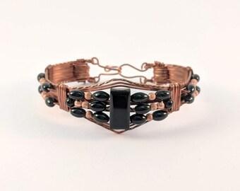 Wire Wrapped Copper Onyx Bracelet  Cuff