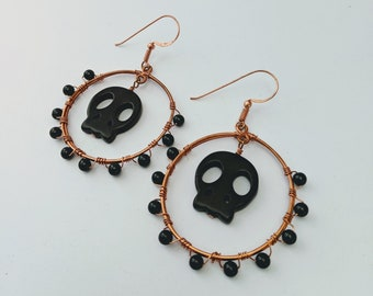 Happy Halloween! Aztec Native American Memento Mori Obsidian Skull Hoops
