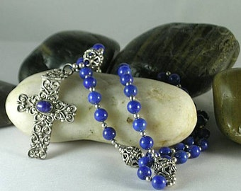 Hinged Sterling Silver Cross & Lapis Lazuli Beads - Psalter Rosary 16th c.