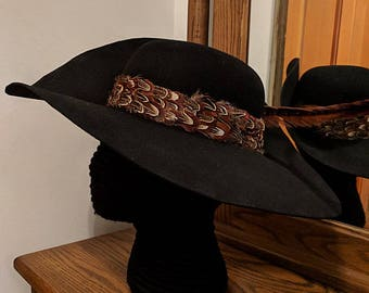 25479d1356d Felt Cavalier Hat - Brooch - Feather Hatband  2 - Pheasant Feather