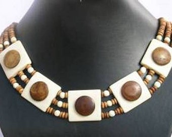 Layered Bone Necklace - Aztec Mayan Native American