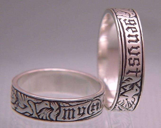 Vintage My Heart - Myn Genyst Sterling Silver Poesy Ring - Medieval German