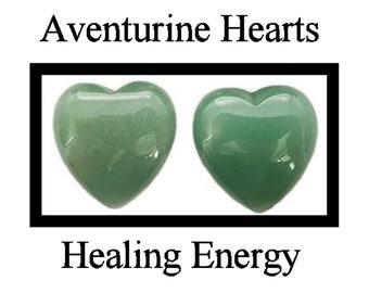 2 Green Aventurine Hearts - DIY Healing Energy - Love Yourself Chakra!