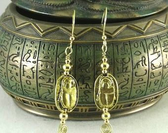 Bronze Scarab Earrings - Sacred Spiral Ear wires - Egyptian Dangles