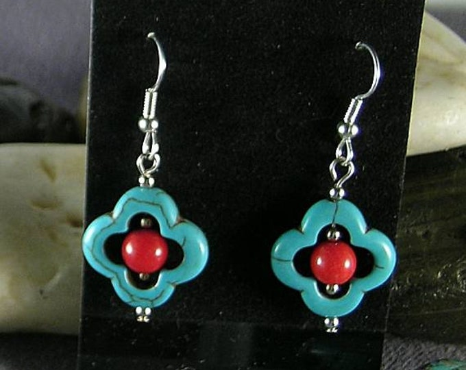 Lucky Quatrefoil Turquoise Earrings White or Red Coral Beads