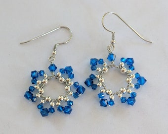 September Birthday Flower Earrings - Sapphire Blue Swarovski Crystals