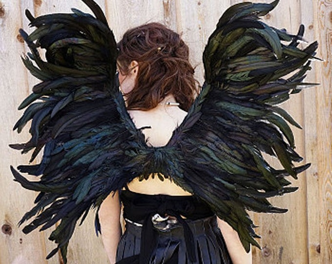 Black Bird Wings - Raven Crow Capelet - Rooster Coque Feathers Wings