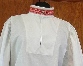 Rapier Shirt Redwork Collar Cuffs - SCA Fencing Armor