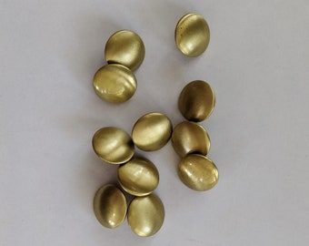 11 Flat Brushed Metal Gold Shank Buttons