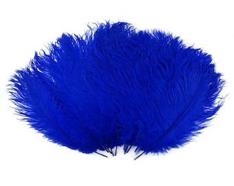 Royal Blue Medium Ostrich Drab Feather - Dyed Plume