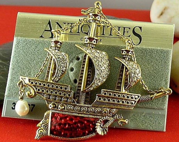 Featured listing image: Red Enameled Ship Brooch - Elizabethan Renaissance Victorian