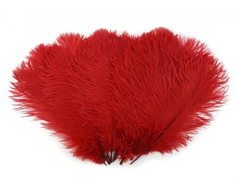 "Red Ostrich Feathers - Medium 13"" - 16"" - Drabs - Dyed Plumes"