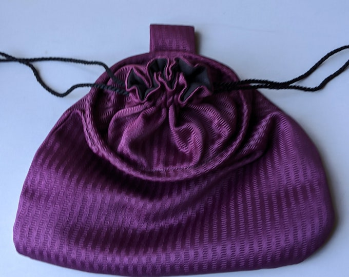 In Stock! Purple Stripe Stain Damask Drawstring Belt Pouch - Game Bag Renaissance