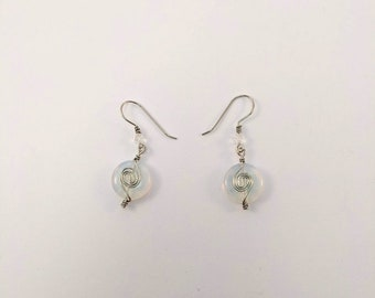 Moonstone Earring with Sacred Spiral - Wire Wrap June July Birthdays