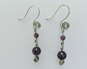 Sacred Spiral Earrings - Amethyst Beads - Celtic - Egyptian - Byzantine