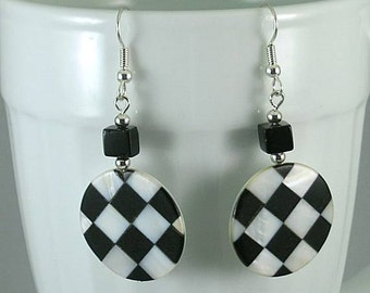 SCA Checky - Black & White Checkerboard  MOP Inlaid Earrings