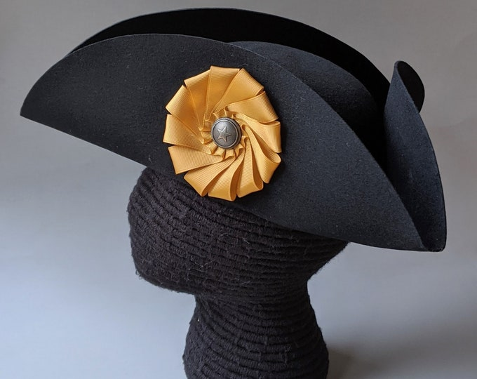 Captain's Tricorn - Colonial Military Cockade Hat - Officer's Tricorne