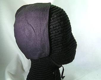 Black Linen Coif  - Italian Renaissance Cap - Tudor Elizabethan