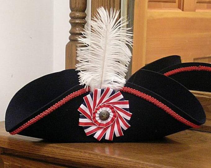 Yankee Doodle Tricorn with Patriotic Ribbon Cockade - Macaroni America!