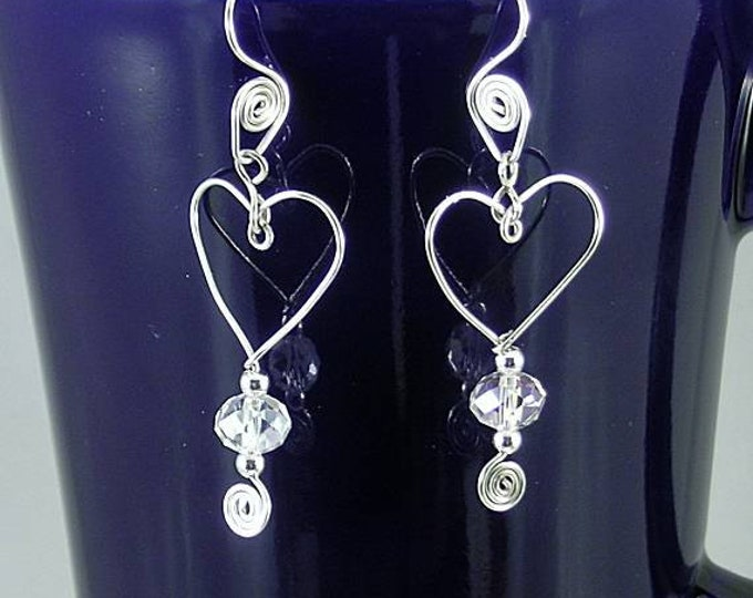 Wire Wrapped Heart w/ Crystal Earrings - Spiral Earwires