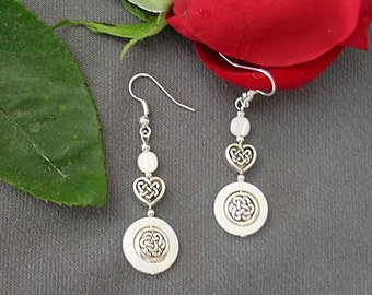 Mother of Pearl Celtic Knotwork Heart Earrings - Valentine's Day