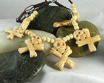 Skull & Crossbones Bone Necklace - Aztec Mayan Native American