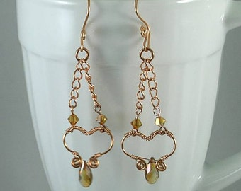 November Topaz Swarovski Crystals - Copper Wire Open Heart Earrings