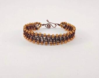 Copper and Glass bead cuff