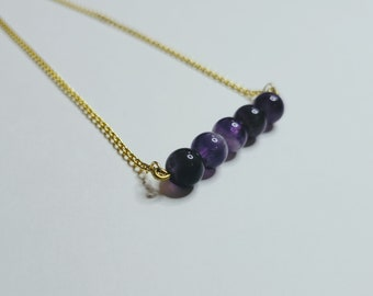 Amethyst Beaded Bar Necklace - Amethyst Bead Necklace - Mother's Day Necklace - Amethyst Healing Necklace