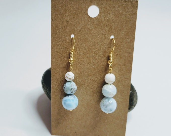 Larimar and Magnesite Earrings - Gemstone Earrings - Larimar Earrings - Crystal Healing