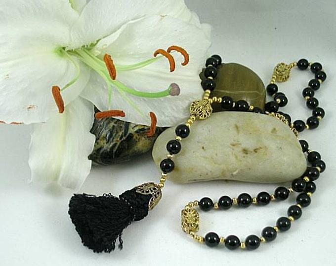 Black Onyx 15th c Renaissance Rosary w Tassel - Gold Paternosters
