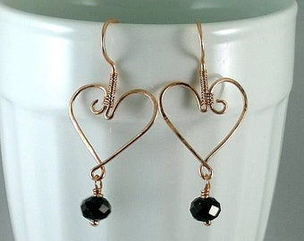Wire Wrapped Heart w/ Black Crystal Earrings - All in One!