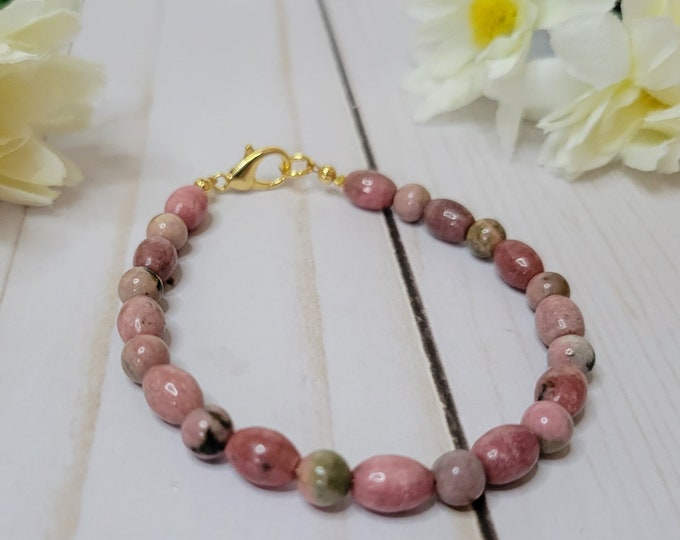 Rhodonite Beaded Bracelet - Healing Bracelet - Anxiety Bracelet - Stone Bracelet
