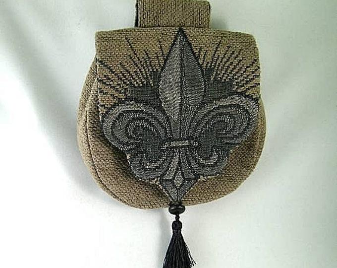 Tan Belt Pouch - Fleur De Lis -  Renaissance - Victorian - French