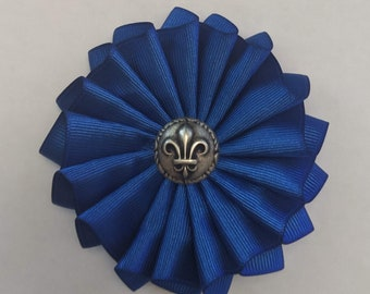 French Cockade - Blue or White Rosette - French Pre-Revolution Ribbons - Pleated