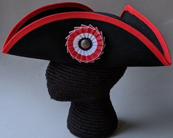 Edge Trimmed Tricorn - Red Edging - Colonial Tricorn - Only One Available!