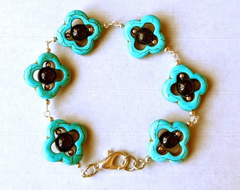 Lucky Turquoise Quatrefoil Black Obsidian Earrings and Bracelet Set